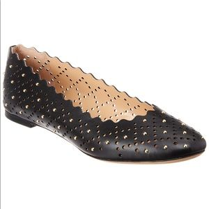 Chloe Lauren Perforated Leather Black Ballet Flats